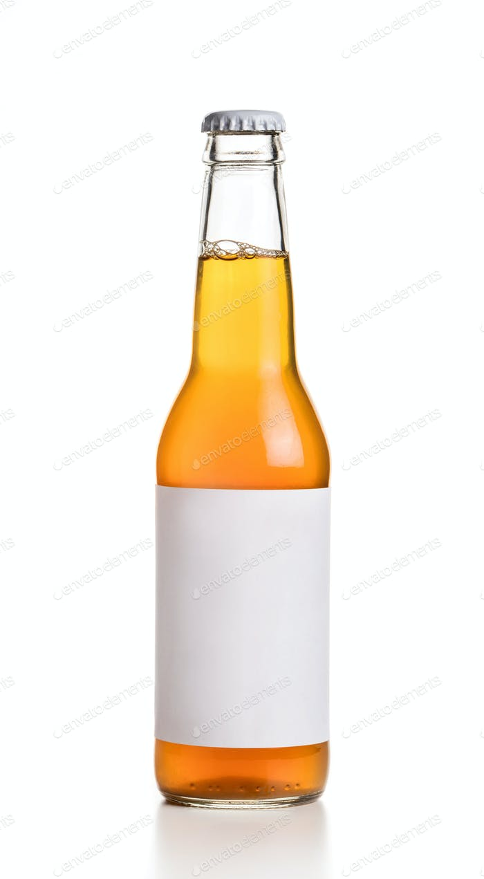 Bottle with yellow drink and empty label on white