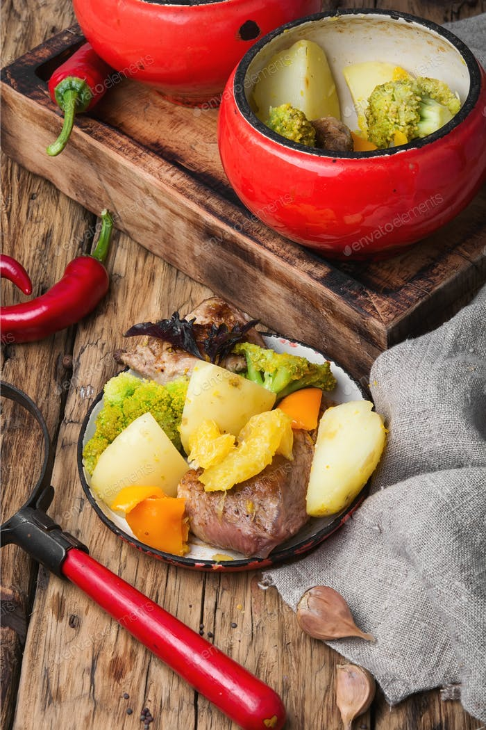meat with orange sauce