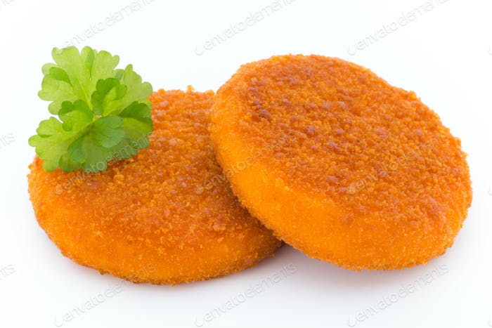 Fried chicken nuggets isolated on white.