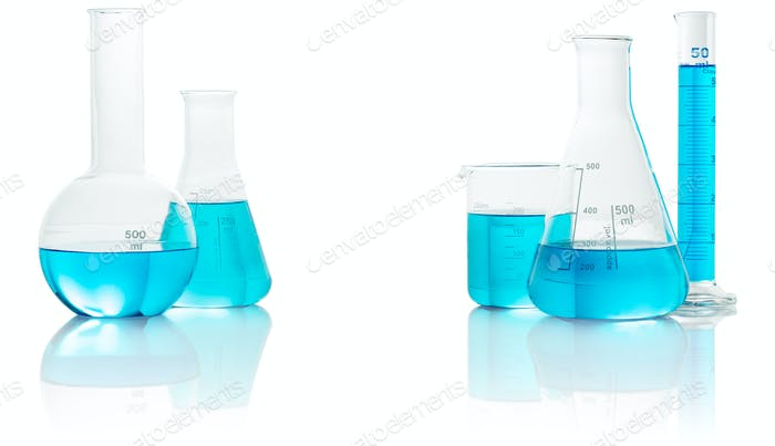 chemical glassware with blue liquid