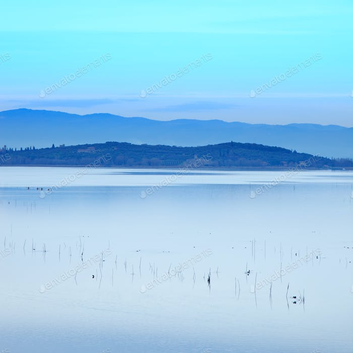 Sunset blue Landscape on Trasimeno Lake, Italy, Europe.