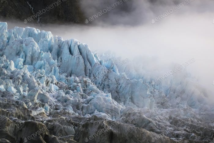 Dense Fog Covers the Fox Glacier in New Zealand
