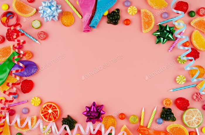 Flat lay view at sweet frame of different type color and taste candies