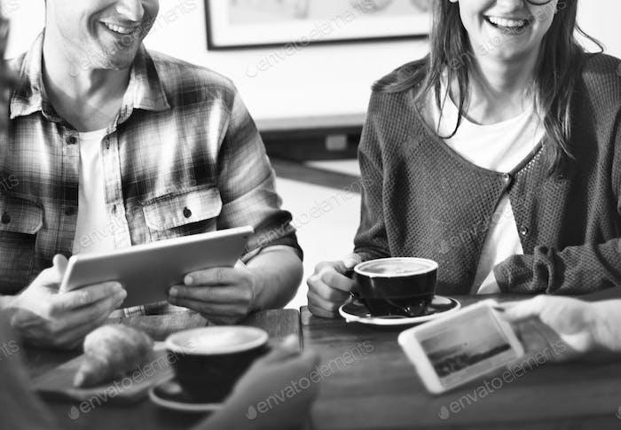 Coffee Break Relaxing Restaurant Friends Meeting Concept