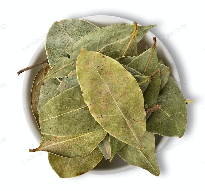 Bay leaves in plate isolated
