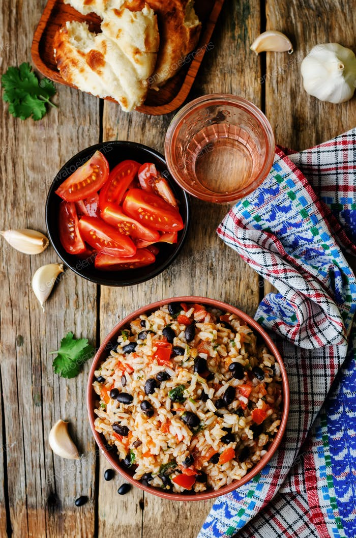 Mexican tomato black beans rice with cilantro