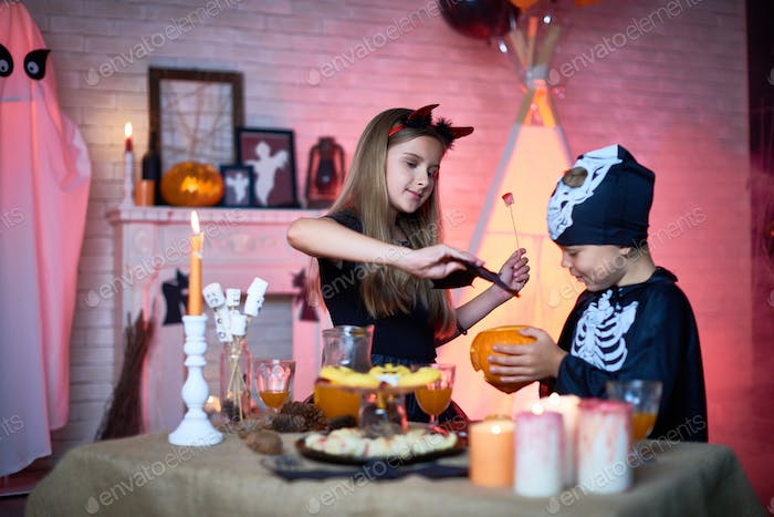 Children Playing during Halloween Party