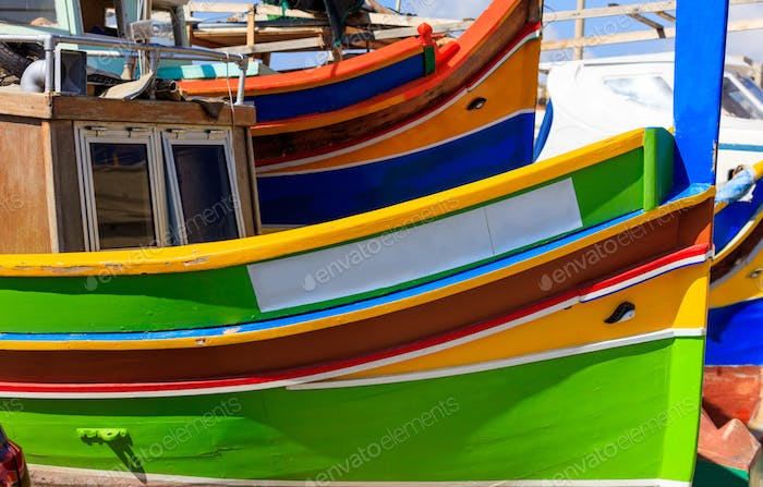 Thumbnail for Traditional colorful boat luzzu at the port of Marsaxlokk, Malta. Copy space, closeup view