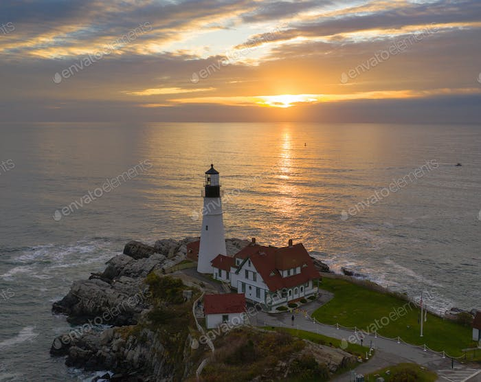 Aerial view Portland Head Lighthouse tower State of Maine