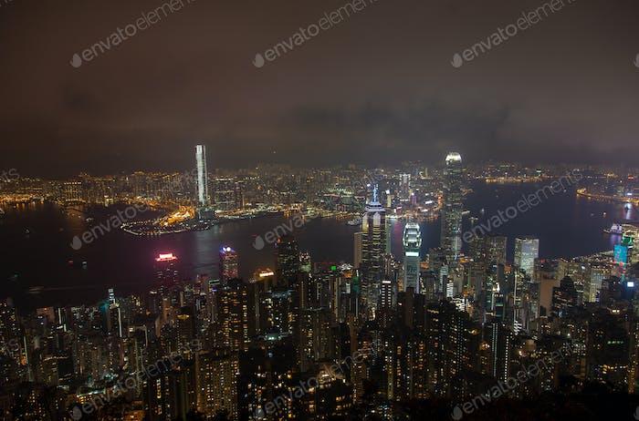 Cityscape Hong Kong Yau Tsim Mong flashing skyscraper