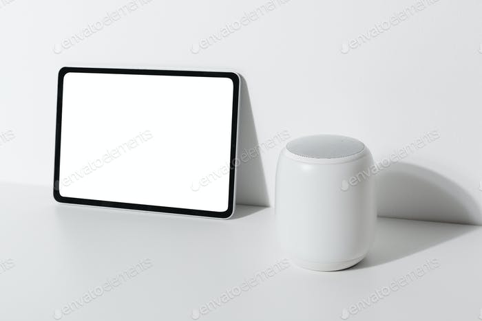 Digital tablet by the smart speaker