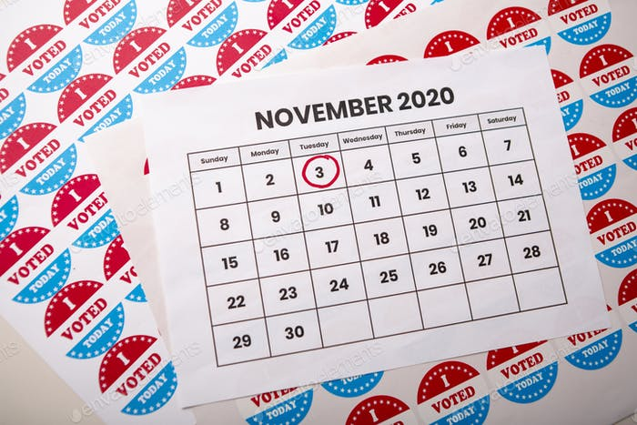 Calendar reminding the day of the elections in the USA