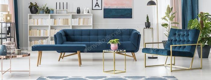 Blue modern living room interior