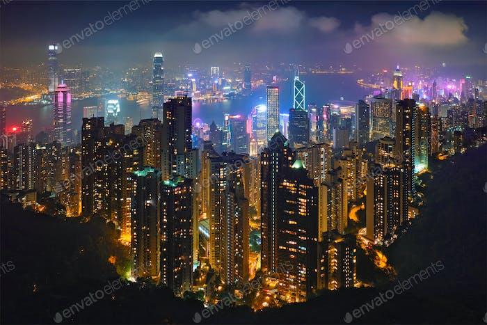 Rascacielos de Hong Kong vista del paisaje urbano