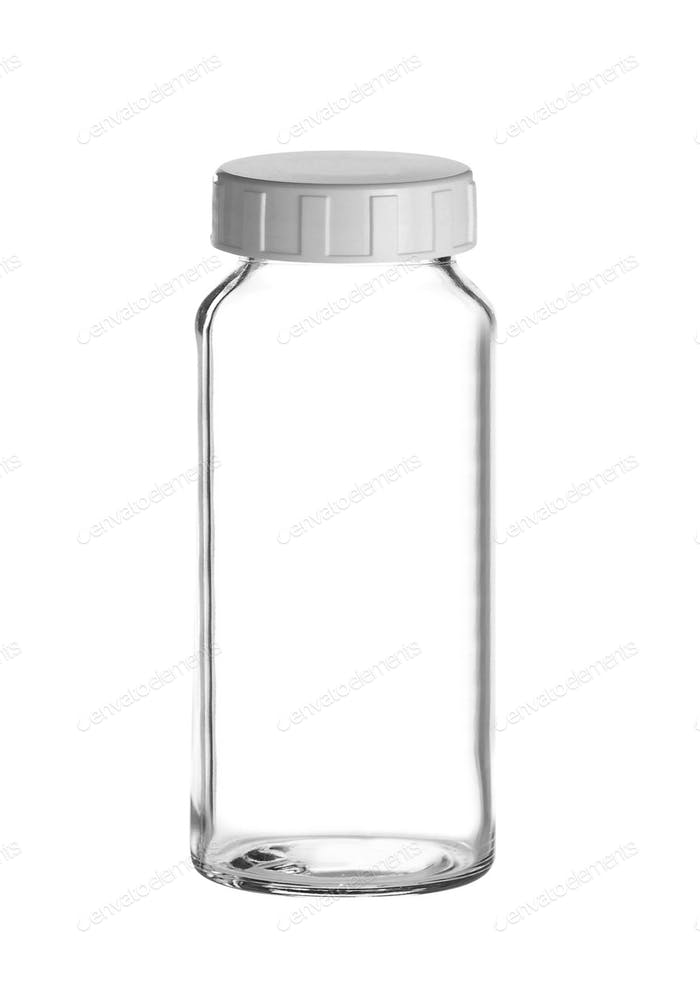 Medical bottle of clear glass