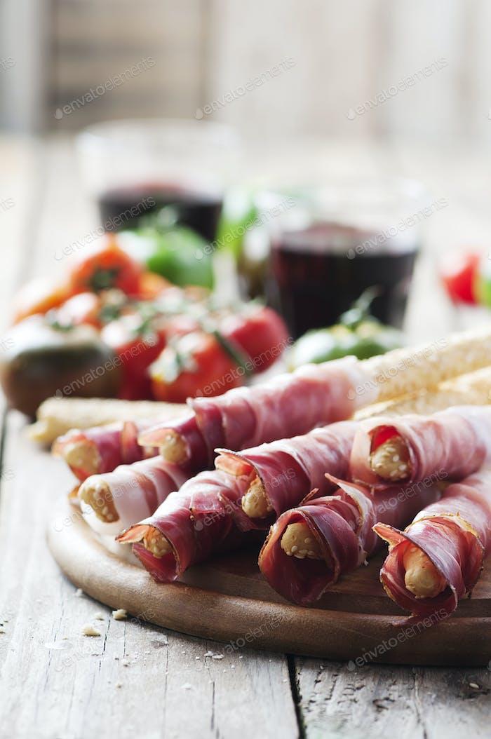 Grissini with italian prosciutto