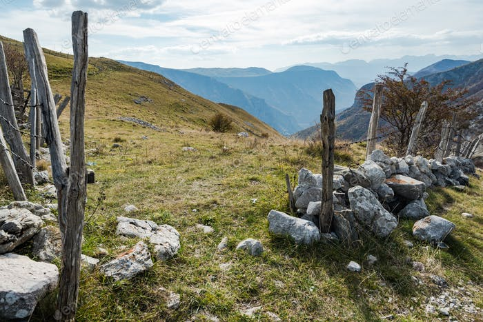 Old fence and pasture border in remote Bosnia mountains