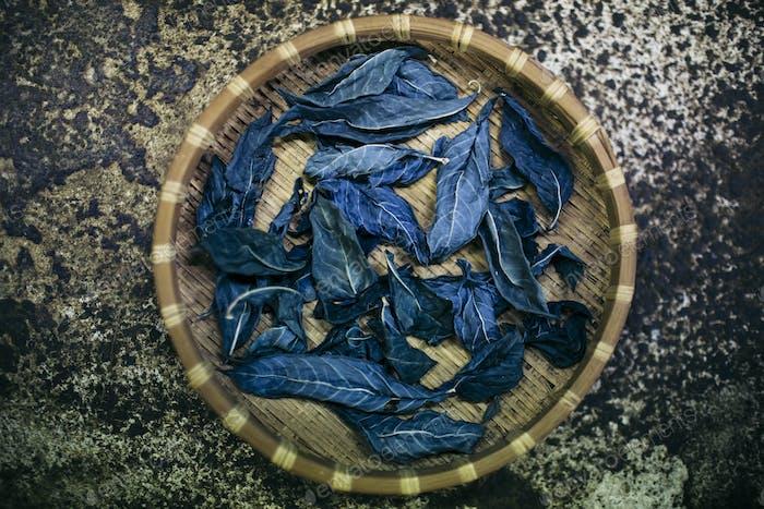 Hoher Winkel Nahaufnahme des Korbes mit Indigoblättern, die zum Färben von Baumwolle verwendet werden.
