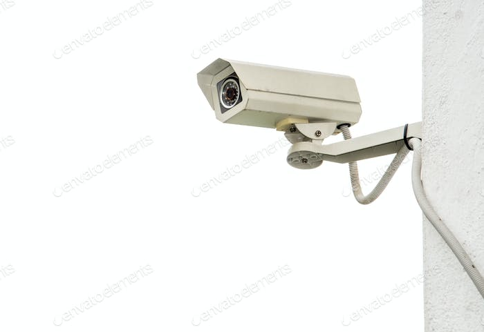 CCTV install on wall.