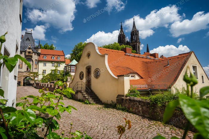 Fable fairy tale Meissen old town. Beautiful Albrechtsburg Castle. Old orange tiled roof buildings