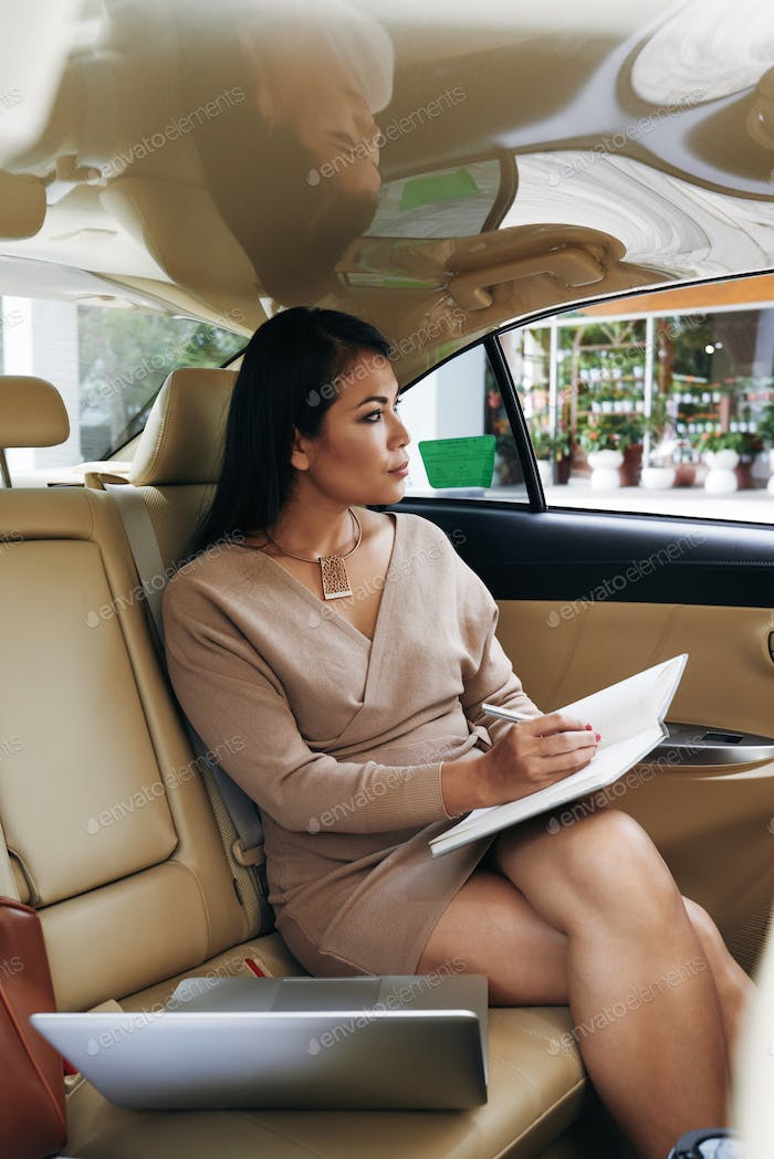 Pensive Business Lady Into Car