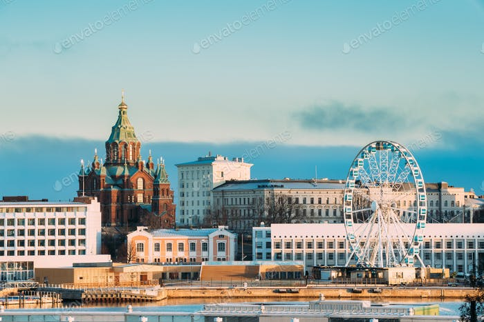 Helsinki, Finland. View Of Uspenski Cathedral On Hill And Ferris
