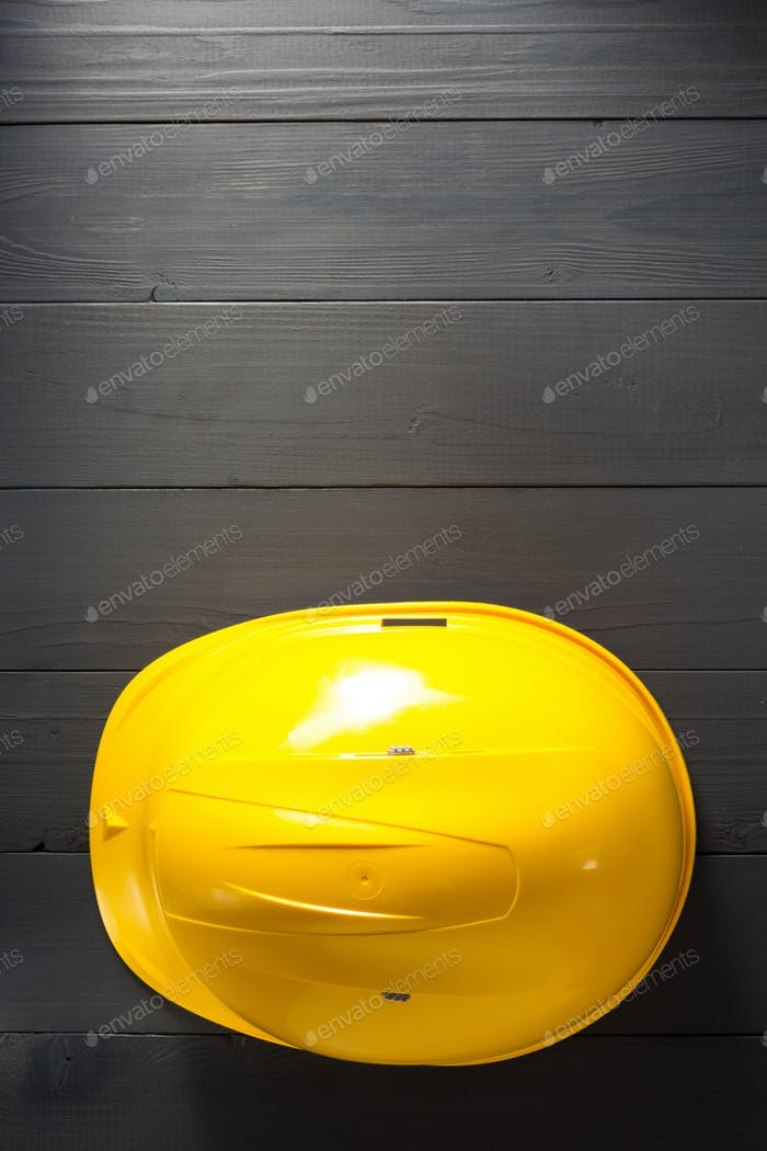 helmet on wooden  background
