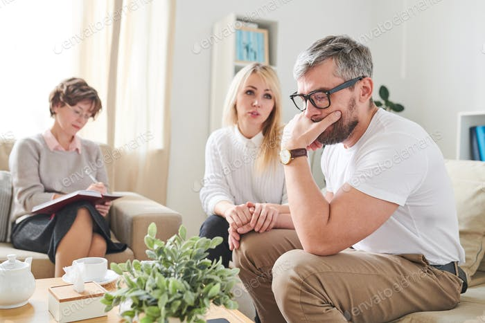 Puzzled husband suffering from depression