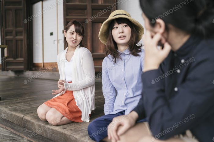 Group of japanese friends visiting Kyoto