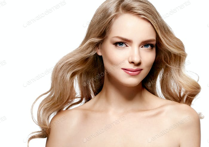 Blonde woman beauty make up natural beautiful female portrait