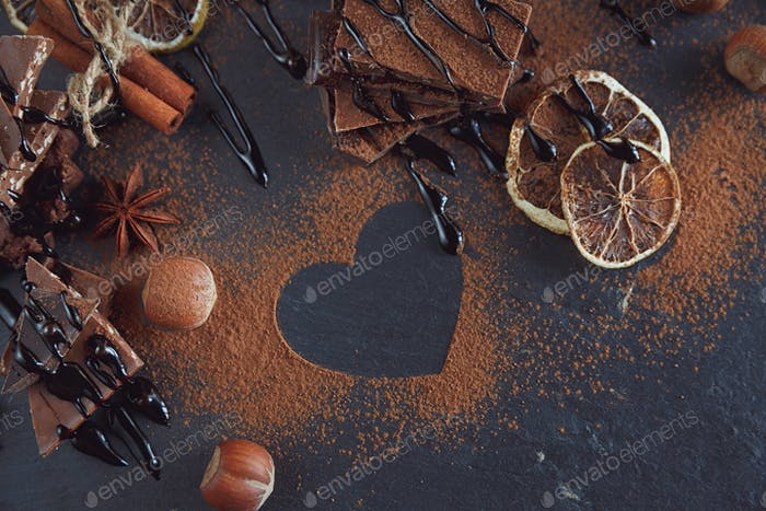 Lemon, nuts and assortment of fine chocolates