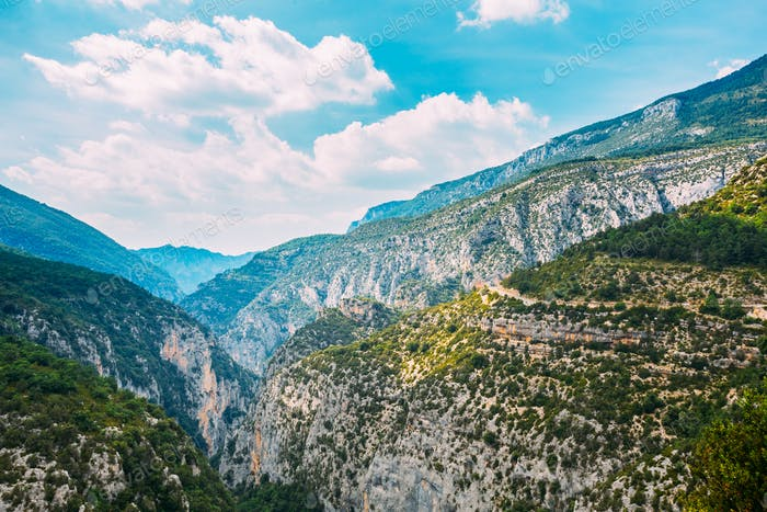 Beautiful Mountains Landscape Of The Gorges Du Verdon In South-e