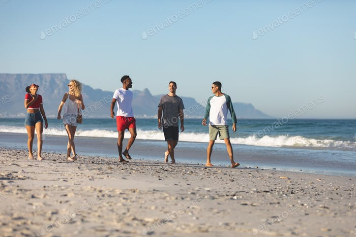 Side view of group of happy diverse friends walking together and having fun on the beach