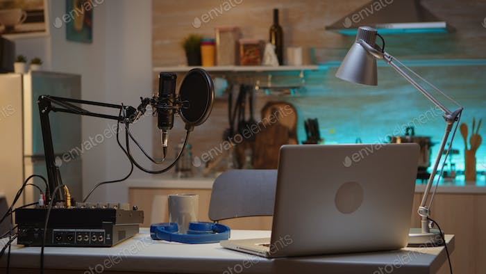Professional setup for recording podcast