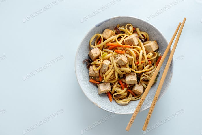 Asian noodles with cheese tofu