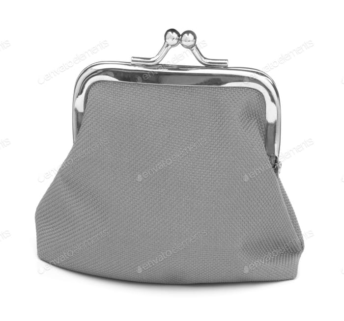 grey cash wallet isolated on white background. Charge purse. Coin wallet.