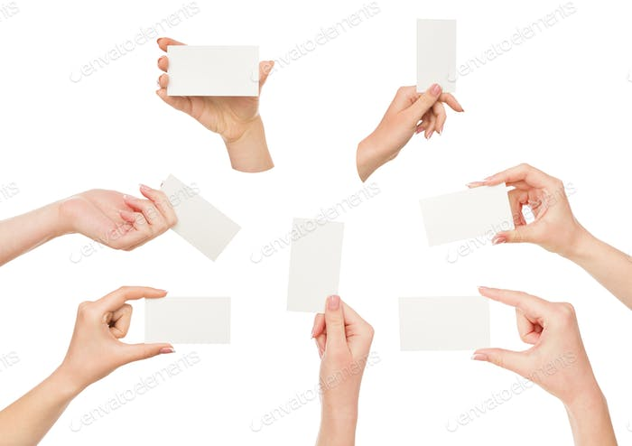 White female hand with business cards. Set, isolated on white.