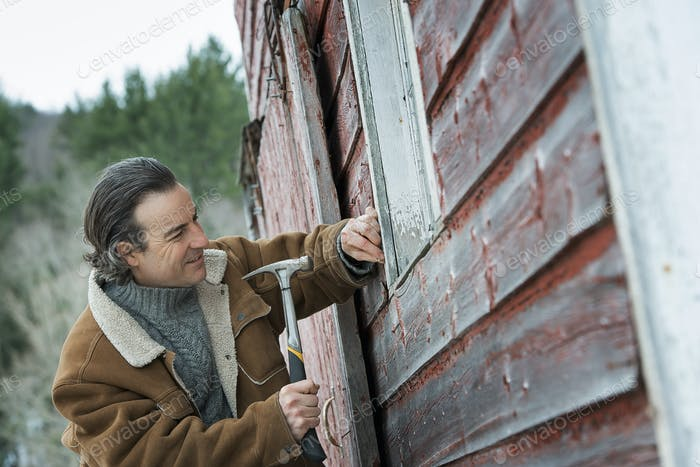 A man repairing a barn, hammering nails into wooden shingle in winter.
