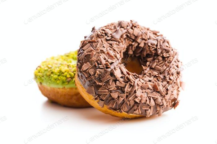 Sweet glazed donuts.