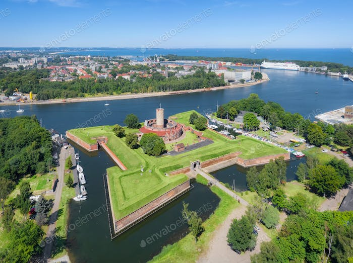 Aerial view of historic Wisloujscie Fortress in Gdansk, Poland