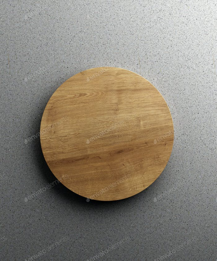 Wooden kitchen board. On a grey stone background. Top view. Free space for text
