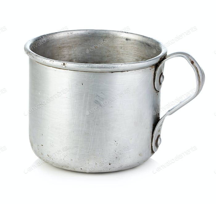 Vintage army aluminum cup isolated on white background.