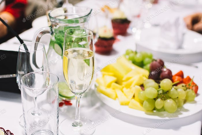 Glass of champagne on a wedding celebration party