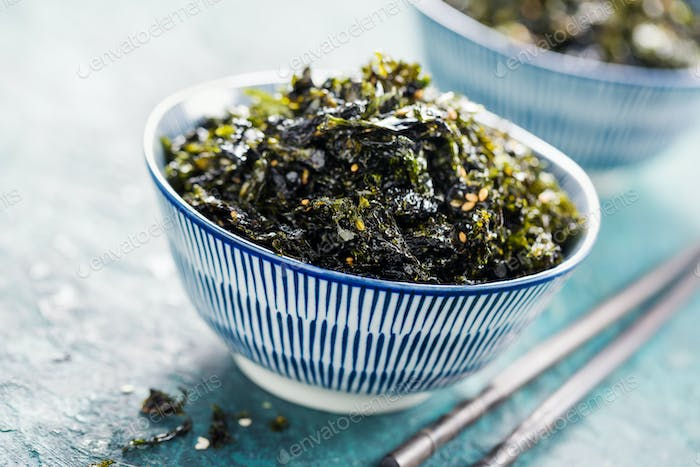 Crispy dried seaweed nori with sesame and sea salt.