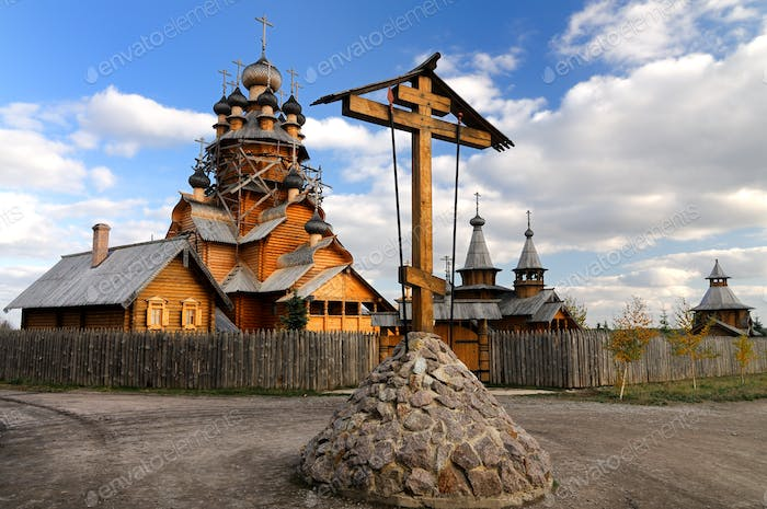 Russian old wooden monastery and house