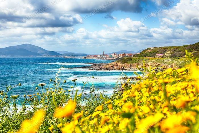 Splendid spring cityscape of Alghero town at morning