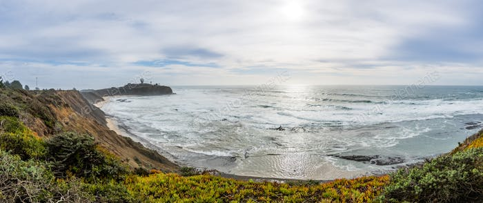 Pillar Point bluffs and Ross Cove on a cloudy winter day, Pacific Ocean coast, California
