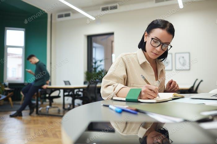Businesswoman planning her work