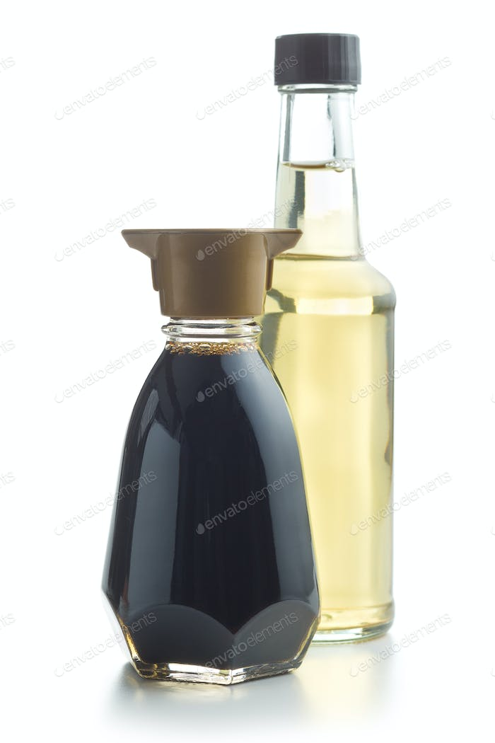 Soy sauce and vinegar bottle.