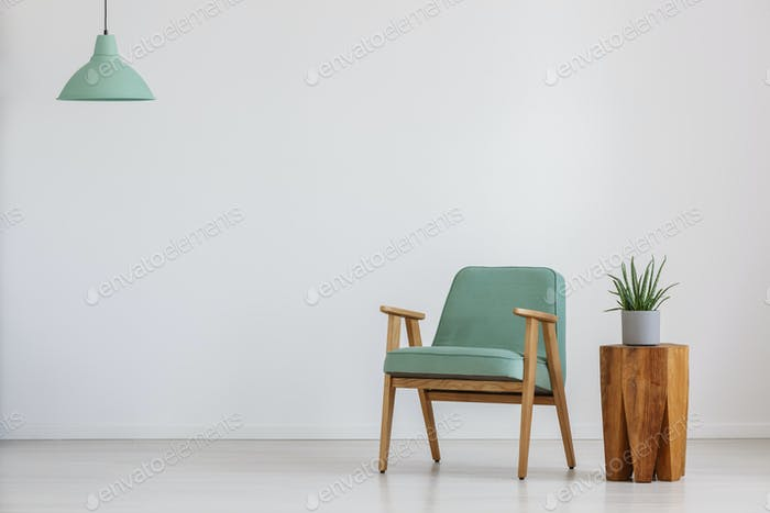 Room with mint lampshade